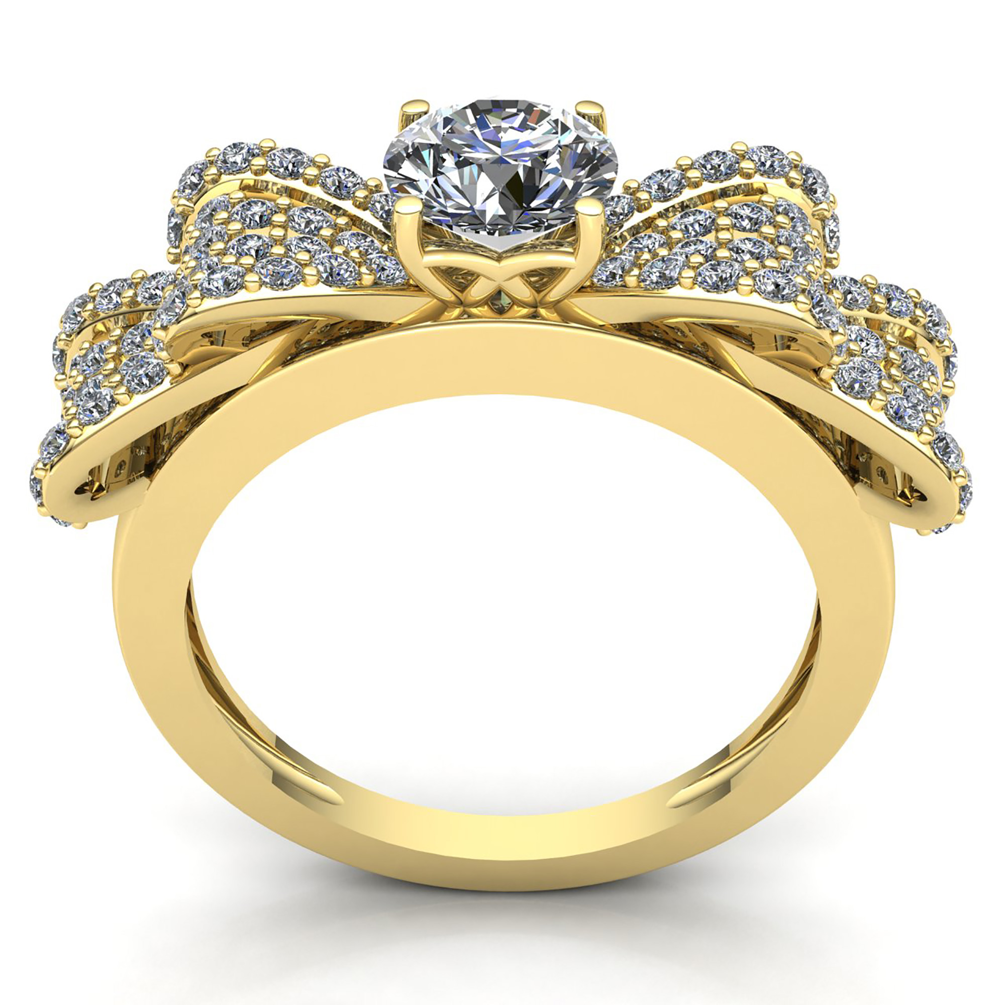 genuine 2ct round cut diamond ladies fancy cluster bow engagement ring 14k gold ebay. Black Bedroom Furniture Sets. Home Design Ideas