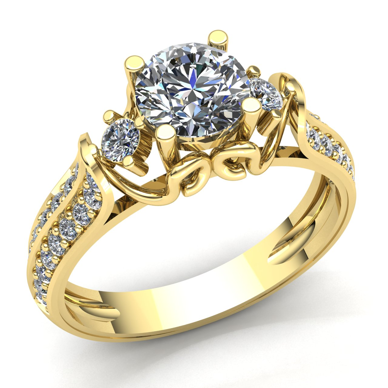 genuine 2ct round cut diamond ladies solitaire bridal engagement ring 18k gold ebay. Black Bedroom Furniture Sets. Home Design Ideas
