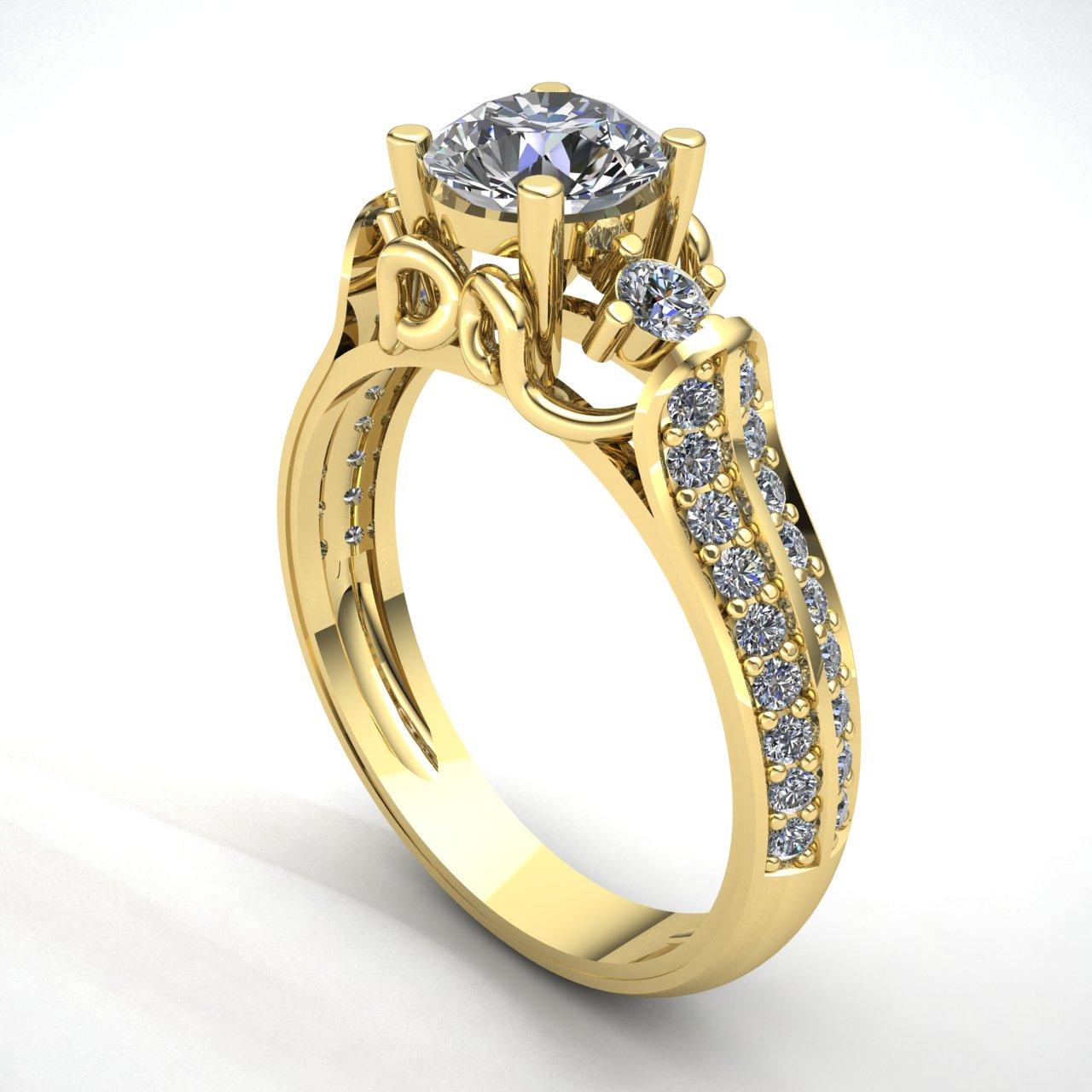 genuine 2ct round cut diamond ladies solitaire bridal engagement ring 18k gold ebay. Black Bedroom Furniture Sets. Home Design Ideas