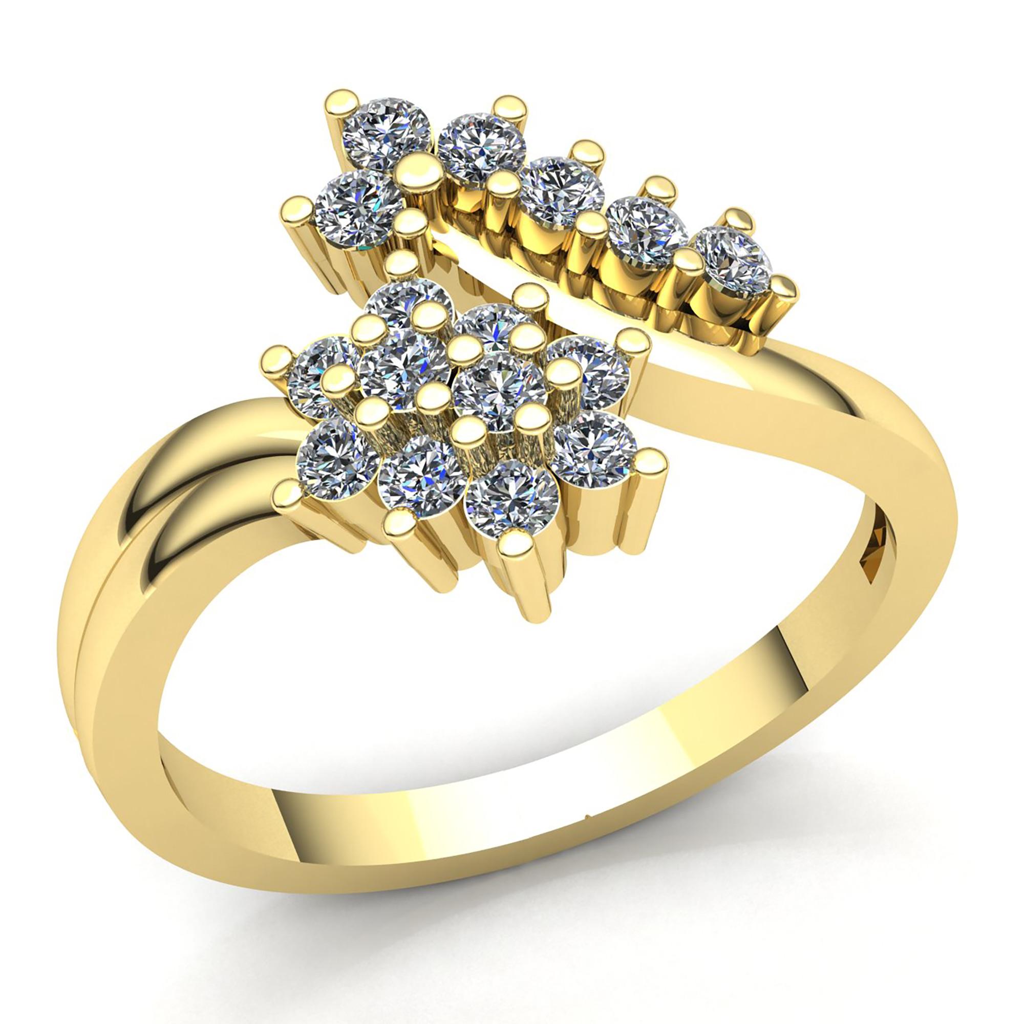 Genuine 1.5ct Round Cut Diamond Ladies Cluster Flower Fancy Ring 10K gold