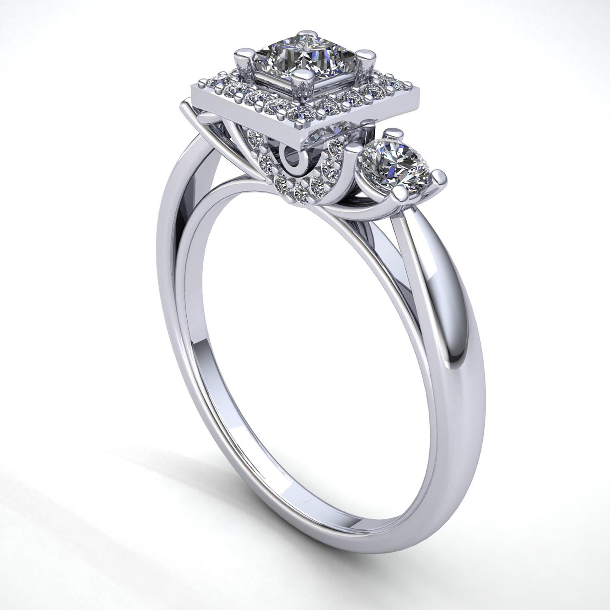 3738a895d48e 0.5carat Diamante Talla Princesa Mujer Cuadrado Halo 3stone Anillo ...