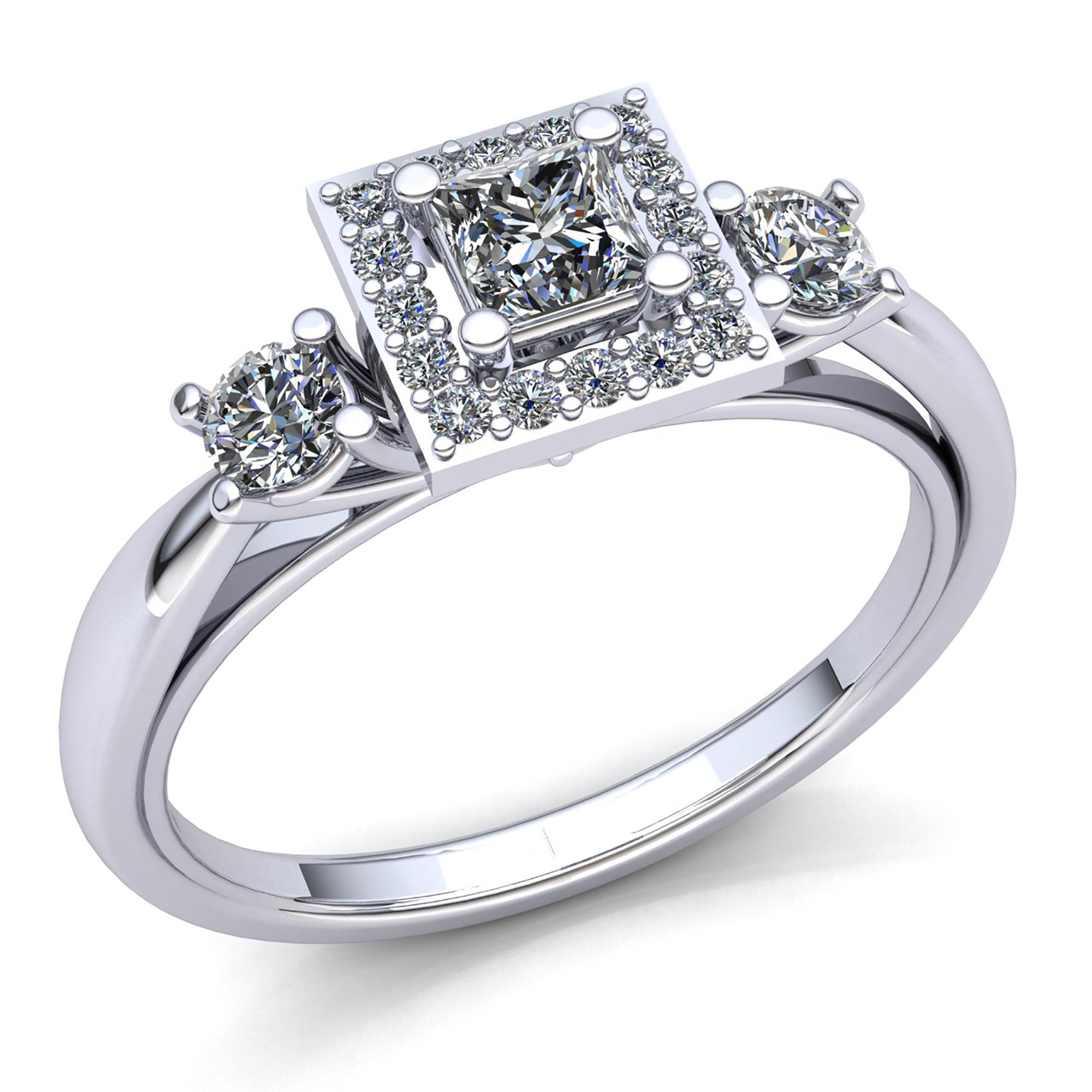 0 75ct Princess Cut Diamond Ladies Square Halo 3stone Engagement Ring 10k Gold Ebay