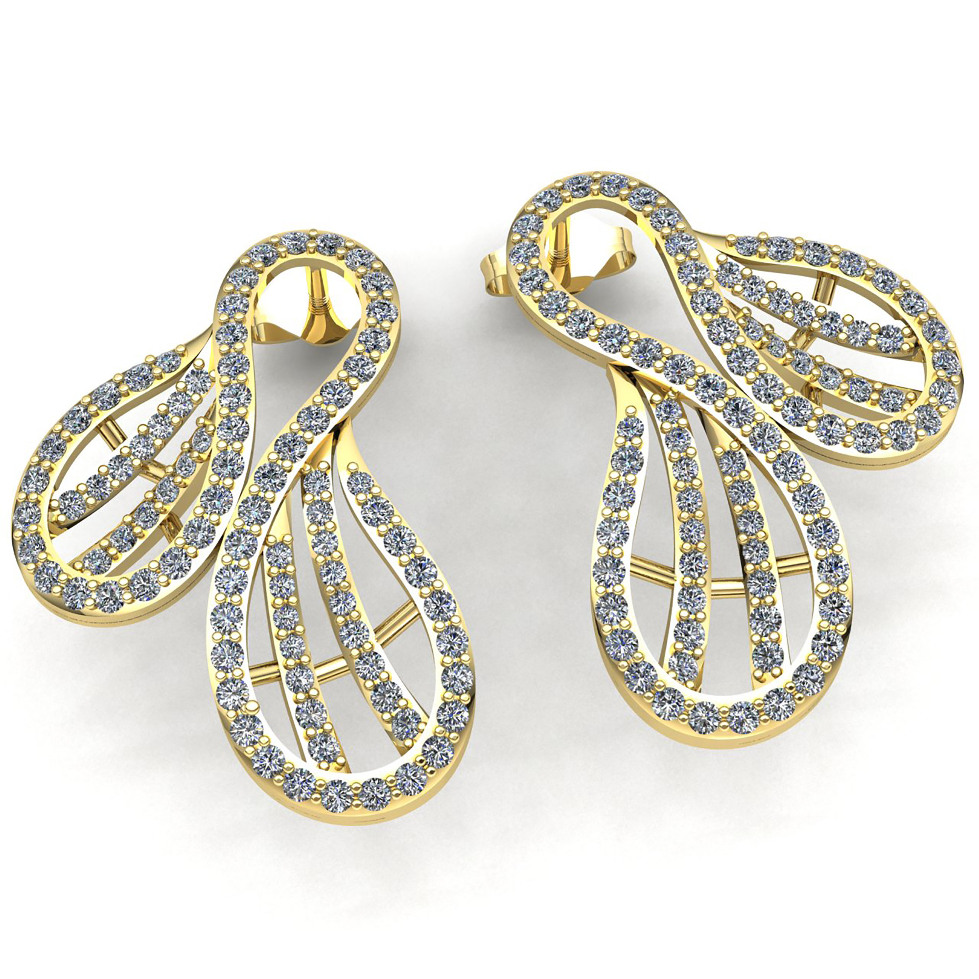 earrings gold white details pave clip product diamond omega