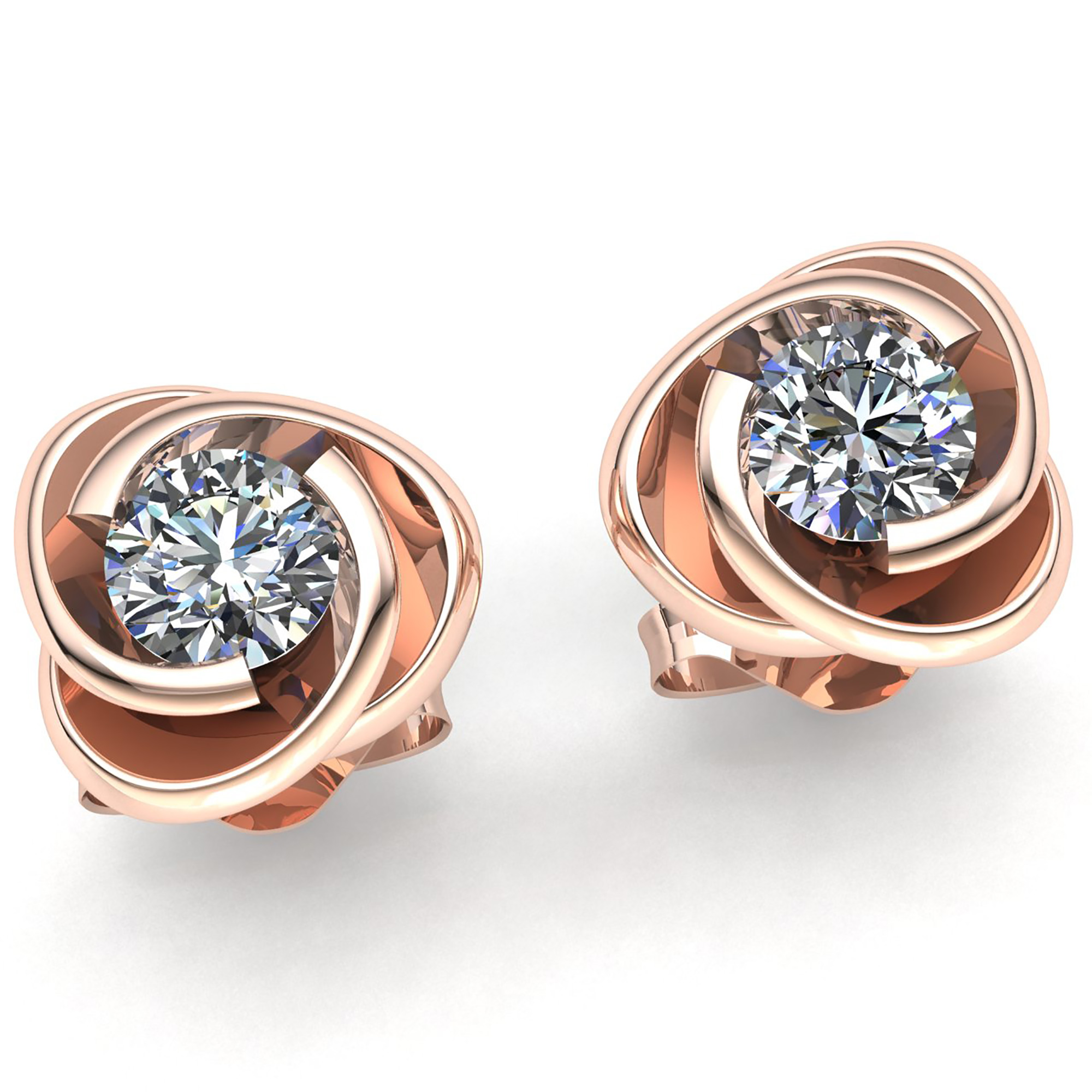 stud earrings diamond round gold prong watches back overstock product push shipping auriya today brown free jewelry tdw cut