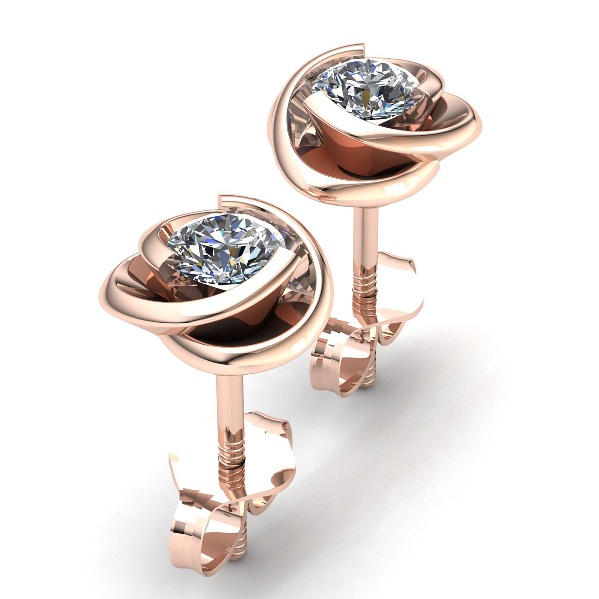 mens gold eve filled cz earrings stud s men round diamond