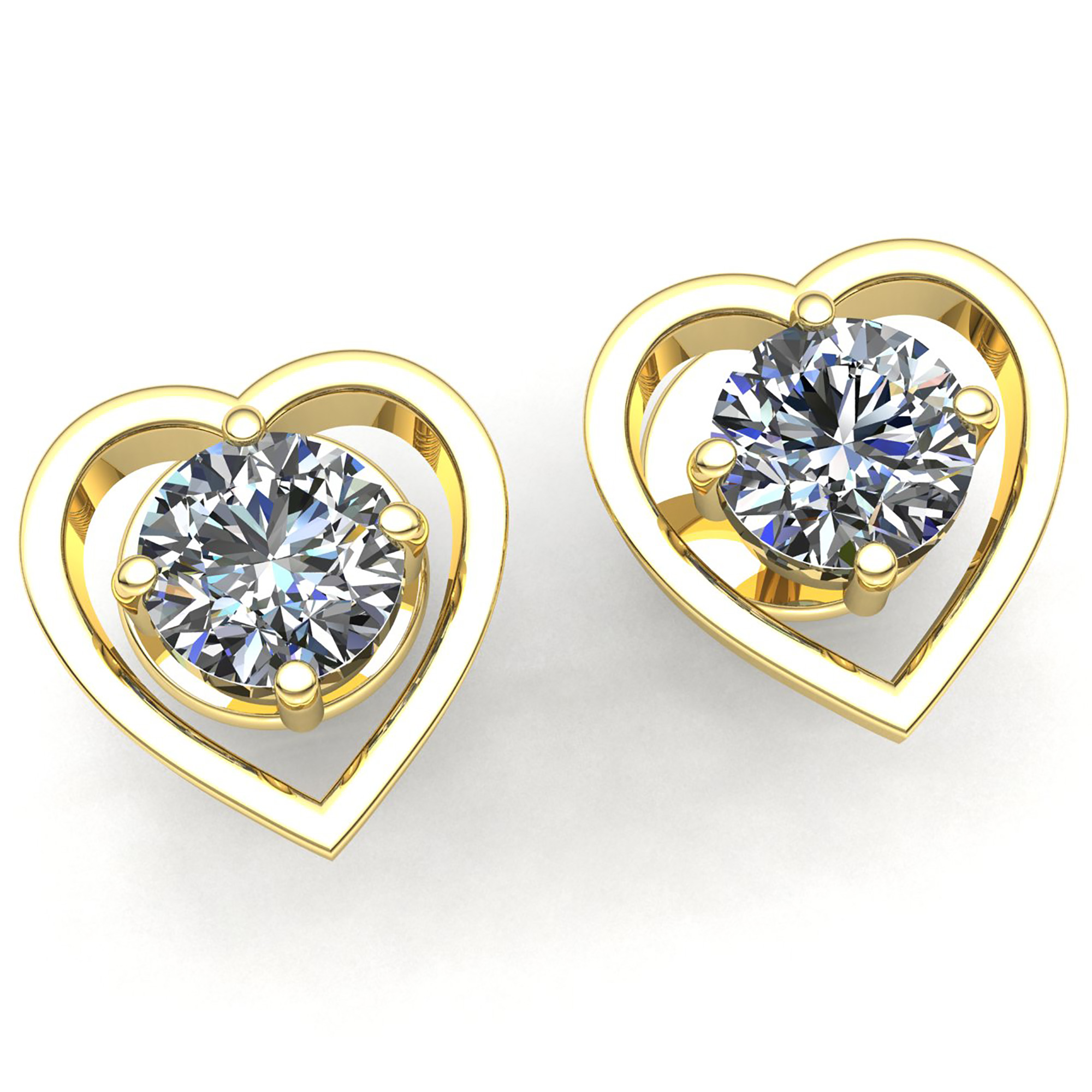 solitaire earrings stud white studs gold rounbd diamond