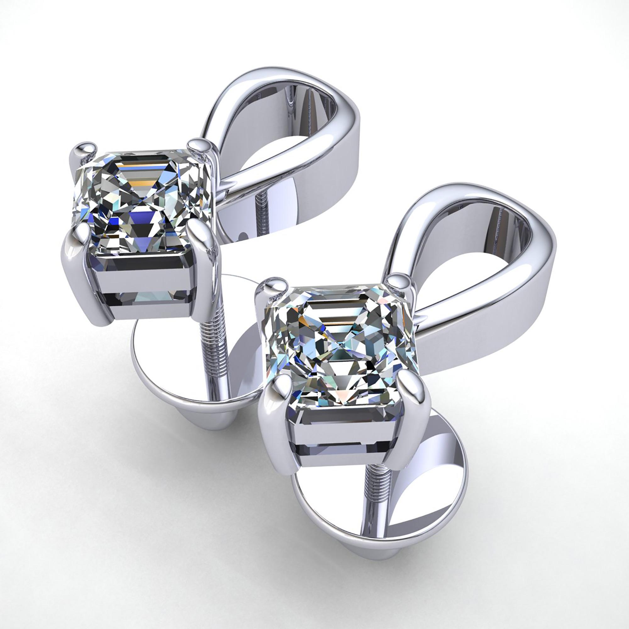 9ct Gold 0.50ct Princess Cut Ladies Solitaire Stud Earrings