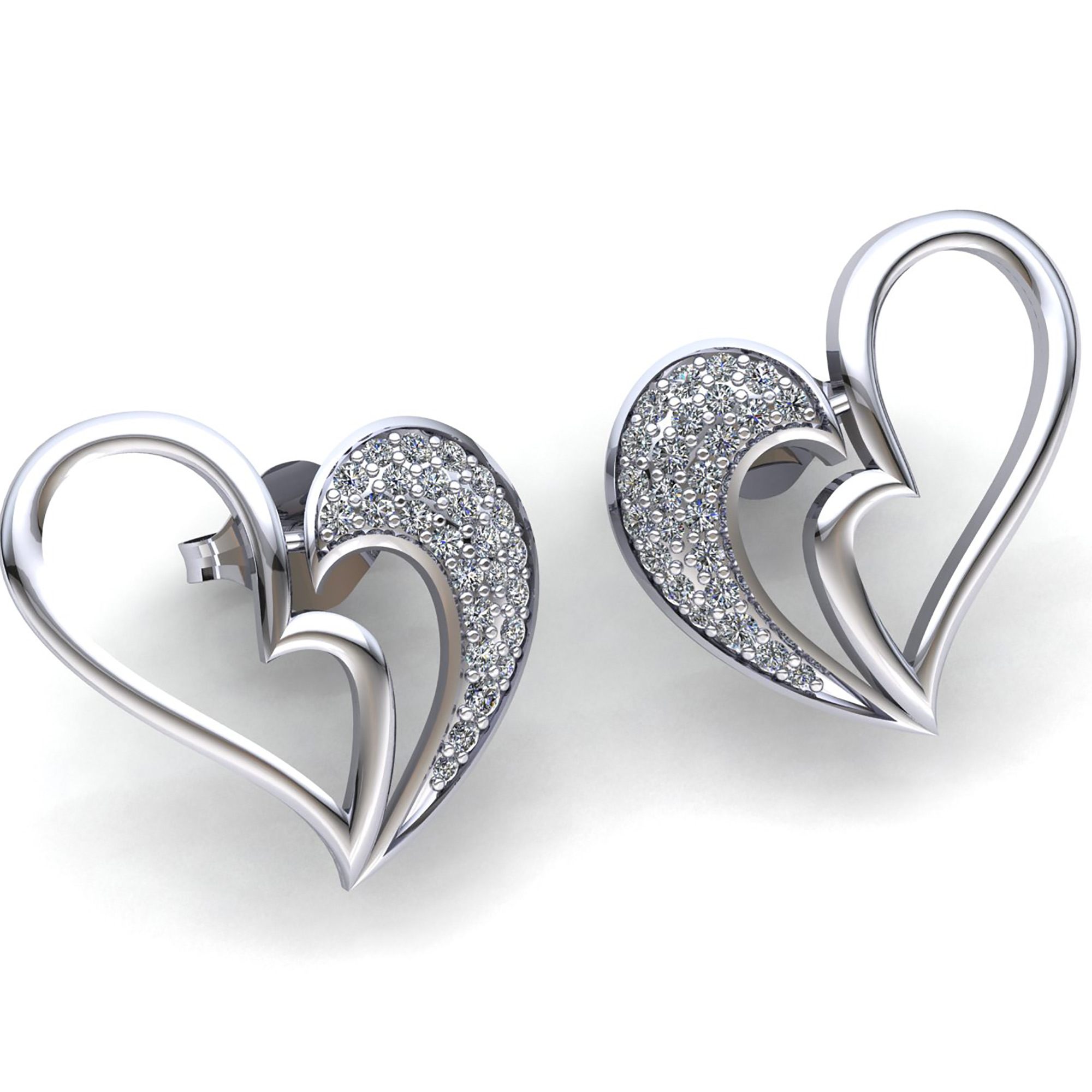 and shape emeraldcollection white andre stud noir collection earrings gold emerald diamond heart dsc