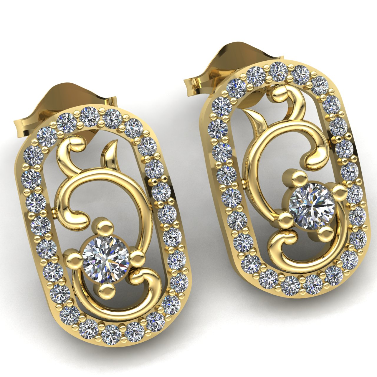 two gold oval drop stud b earrings orsini on diamond and siviglia drops balls with products chain pave