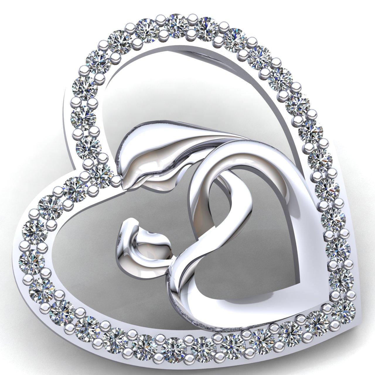 Genuine 3ctw Round Cut Diamond Ladies Heart Mom's Pendant 10K gold