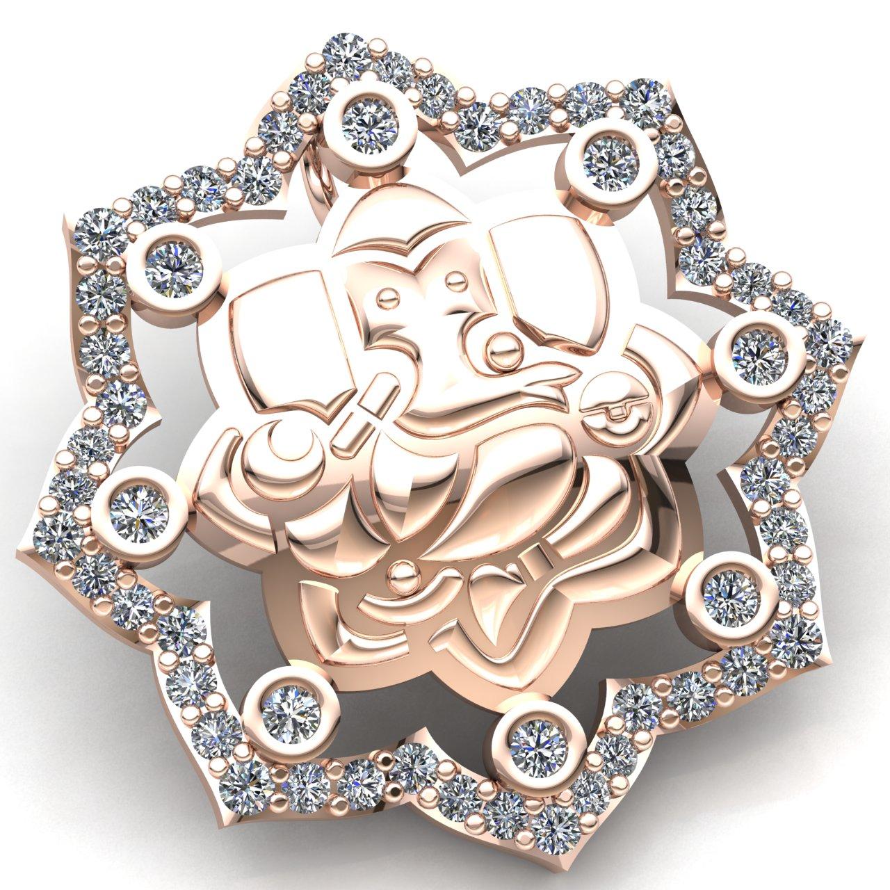 Natural 1ct Round Cut Diamond Ladies Lord Ganesha Religious Pendant 14K gold