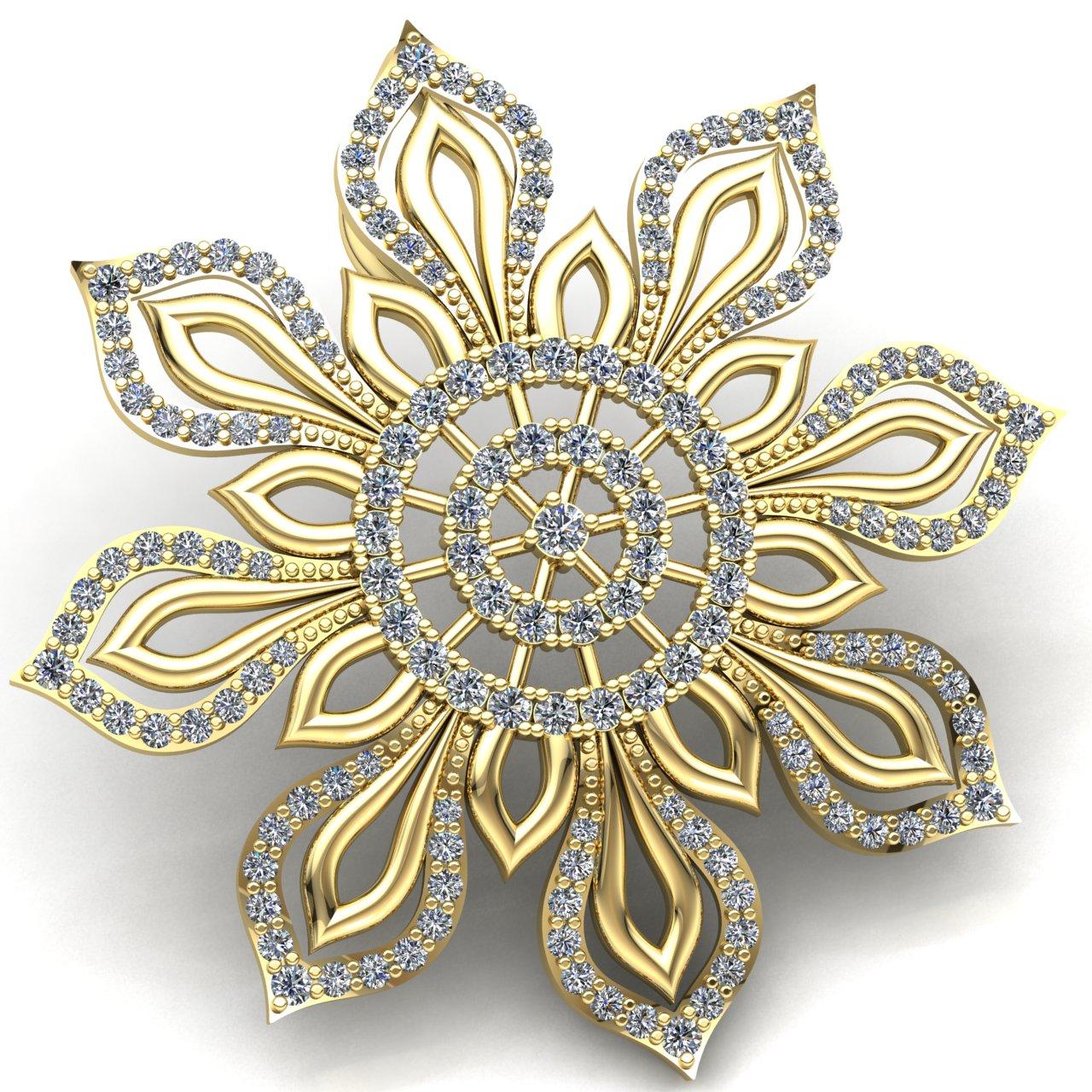 Genuine 5ct Round Cut Diamond Ladies Fancy Flower Pendant 18K gold
