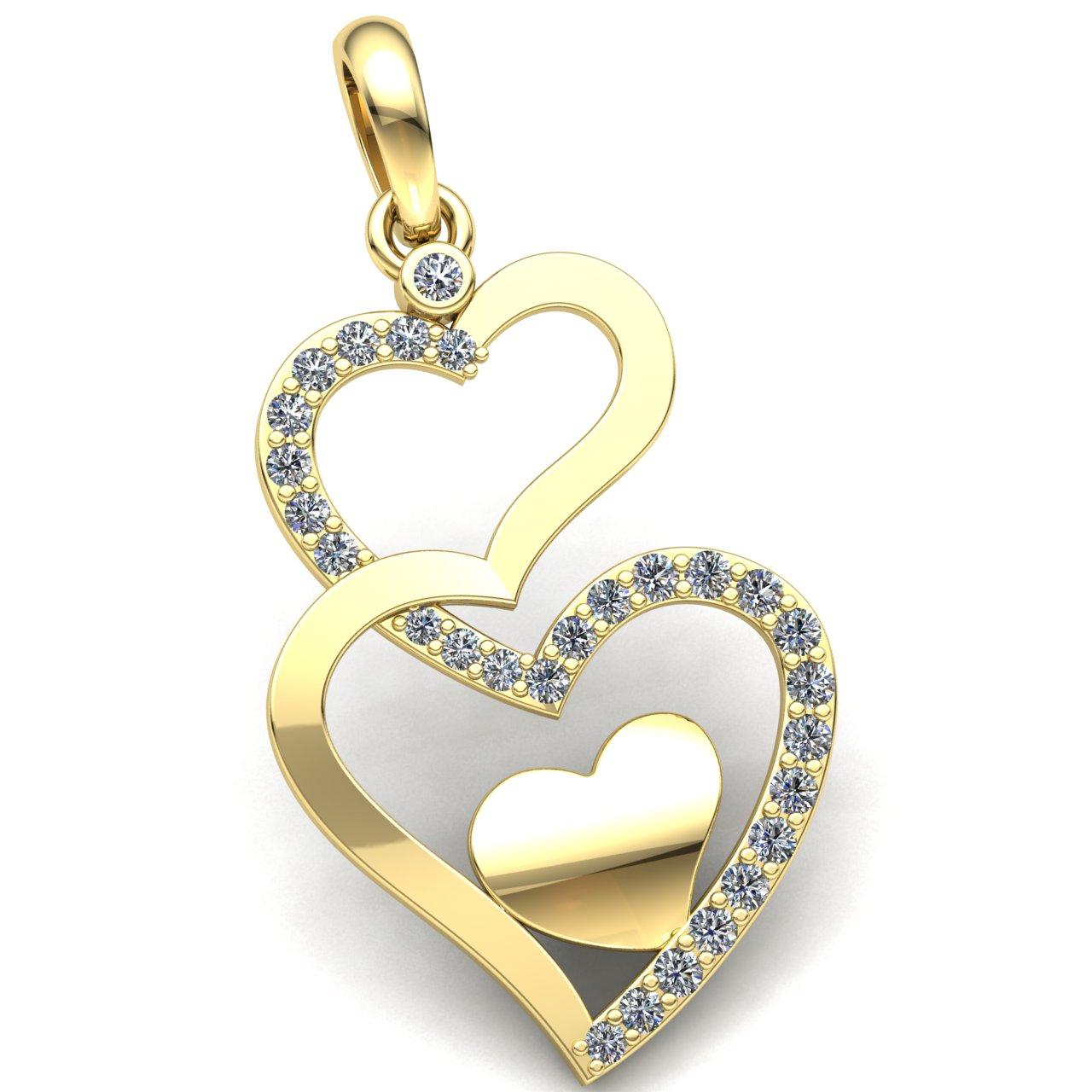 Natural 3carat Round Cut Diamond Ladies Heart Pendant 10K gold