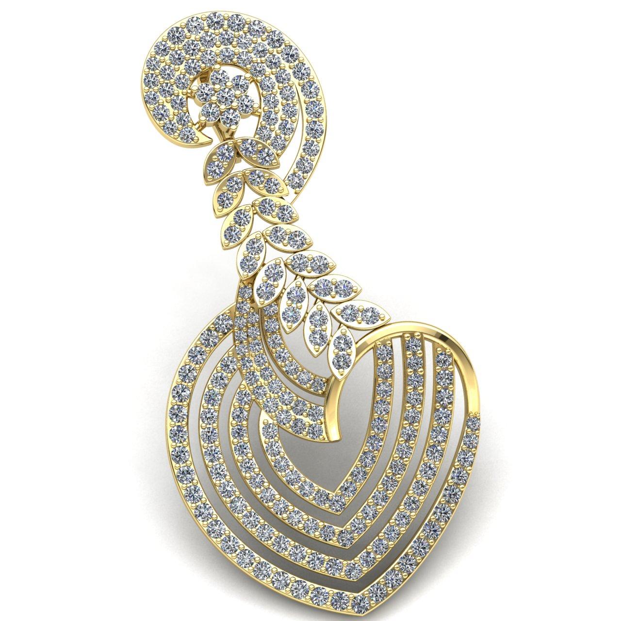 Natural 3carat Round Cut Diamond Ladies Spiral Fancy Heart Pendant 14K gold
