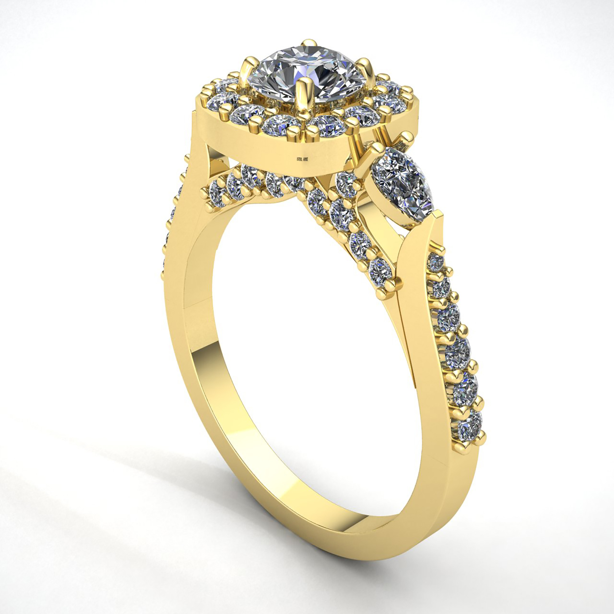 genuine 2ct round cut diamond ladies halo solitaire engagement ring 10k gold ebay. Black Bedroom Furniture Sets. Home Design Ideas