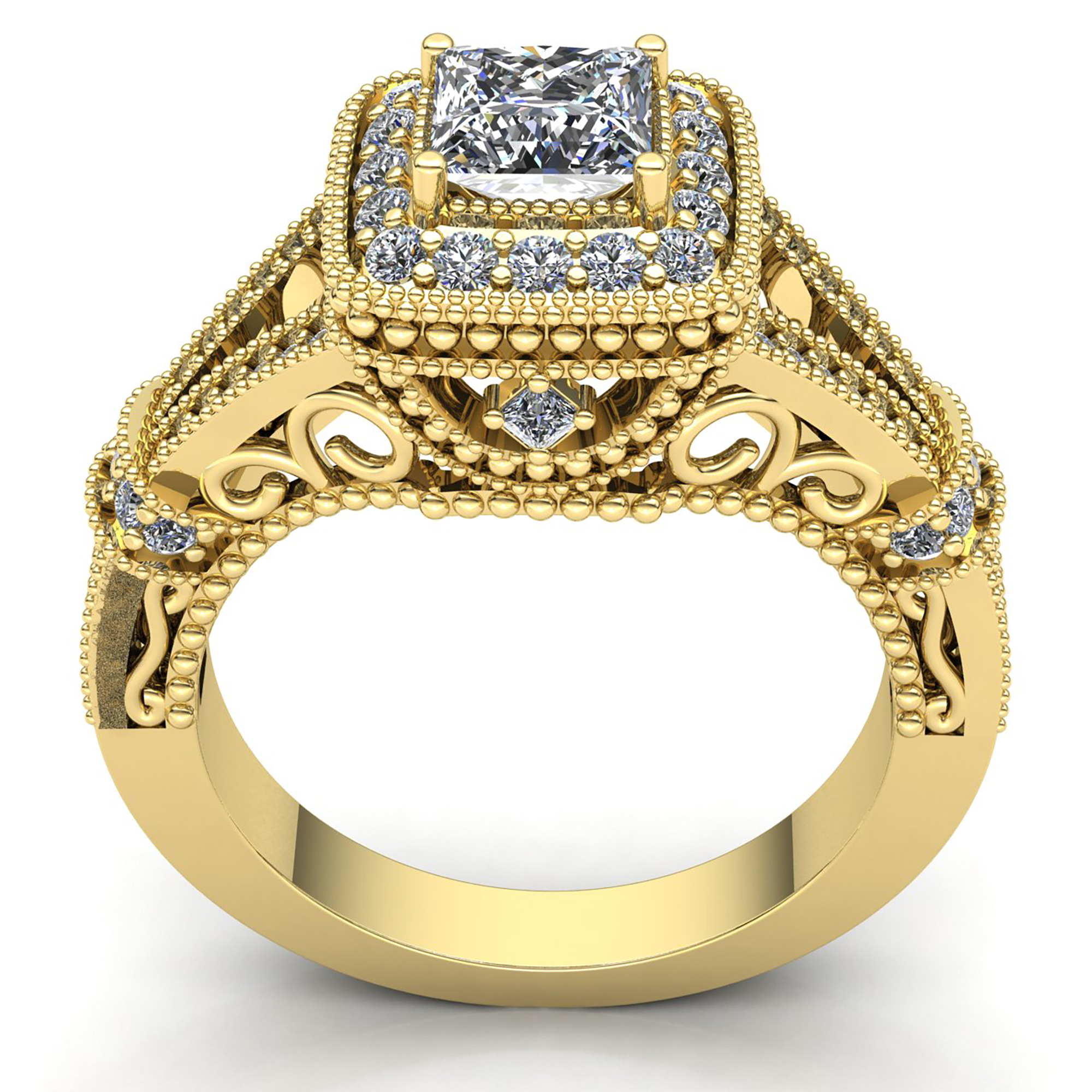 milgrain ring white bubbles gold diamond promise