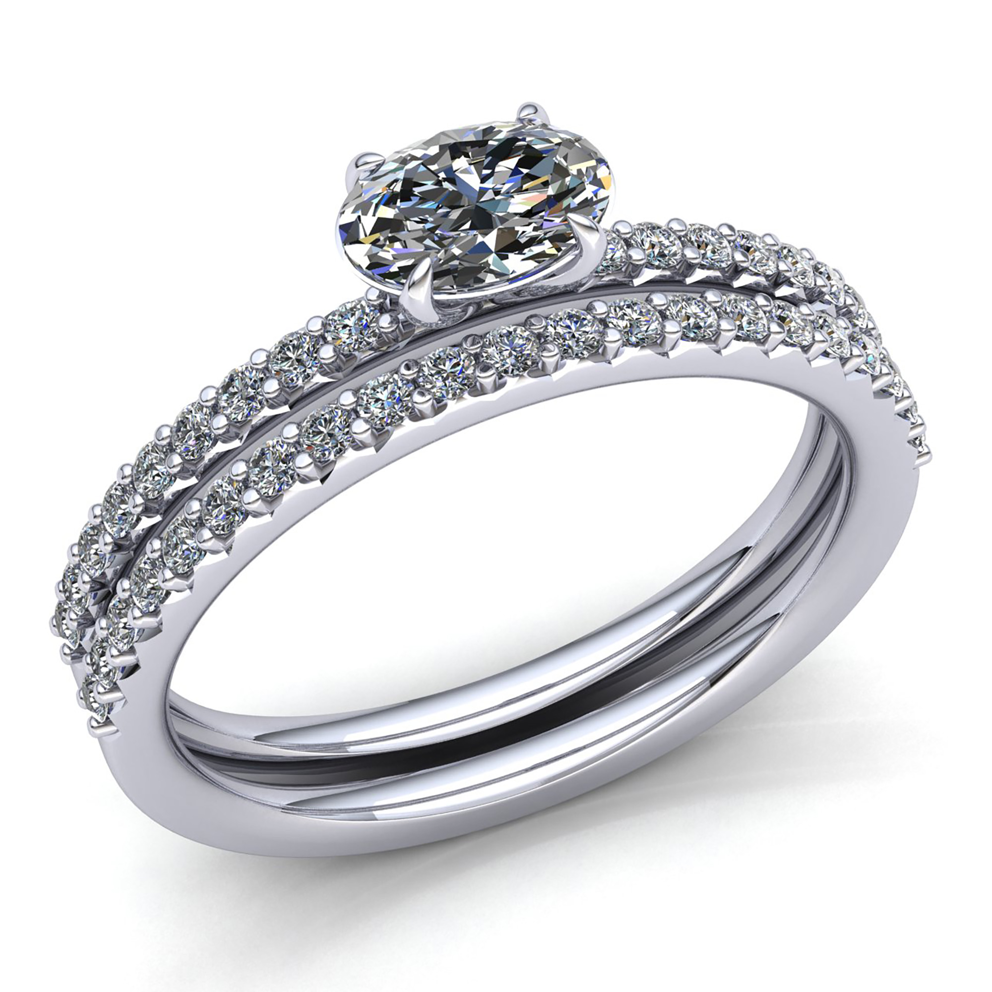 engagement with diamond solitaire band style diamonds rings bridal real ring oval pave