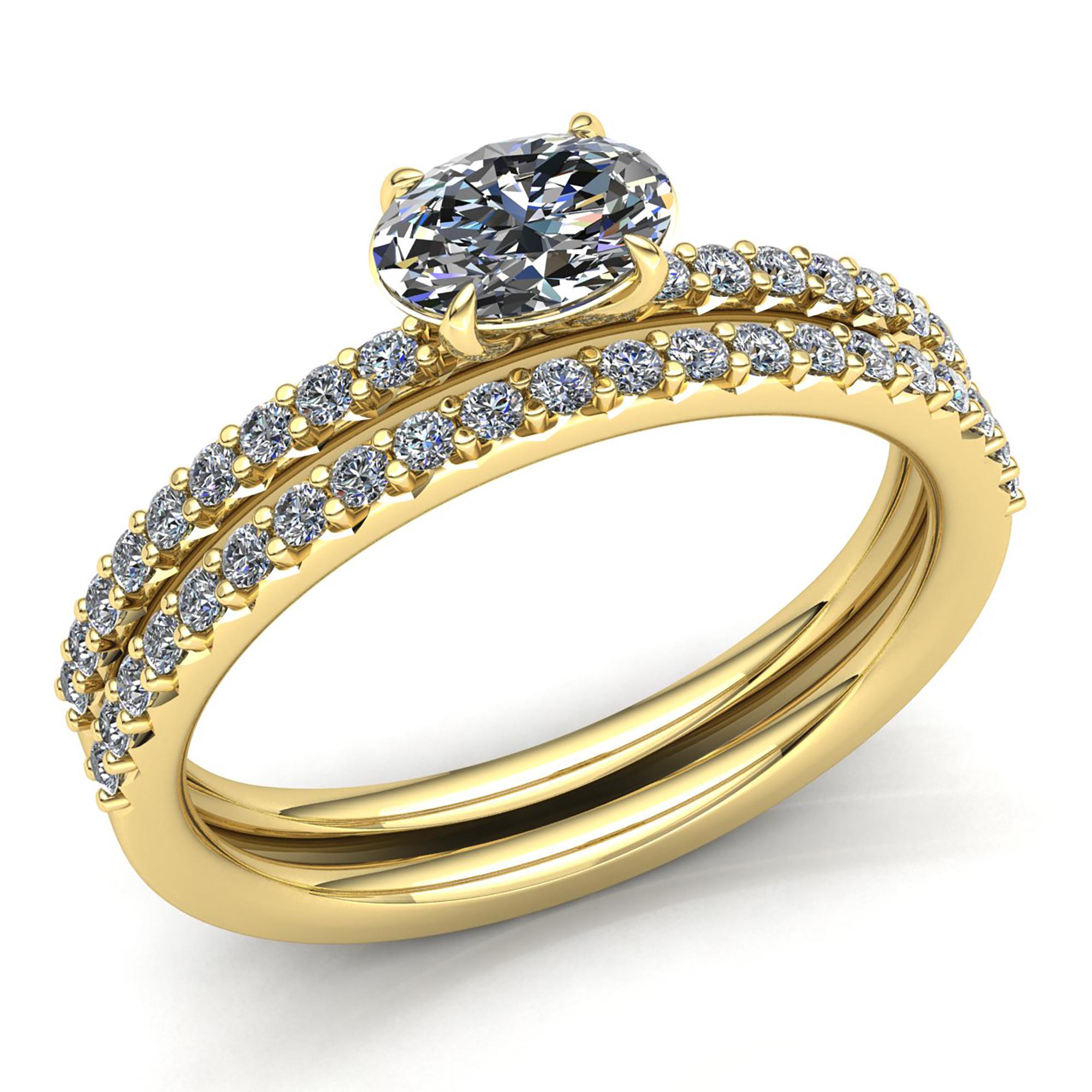 genuine oval diamond ladies bridal set solitaire engagement ring 14k gold ebay. Black Bedroom Furniture Sets. Home Design Ideas