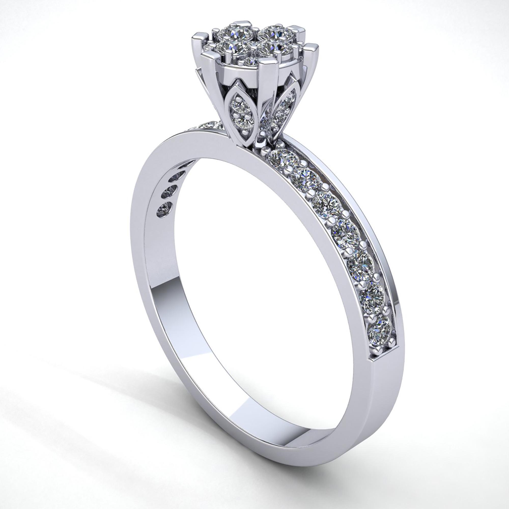 Genuine-3ct-Round-Cut-Diamond-Ladies-Bridal-Cluster-Engagement-Ring-14K-Gold