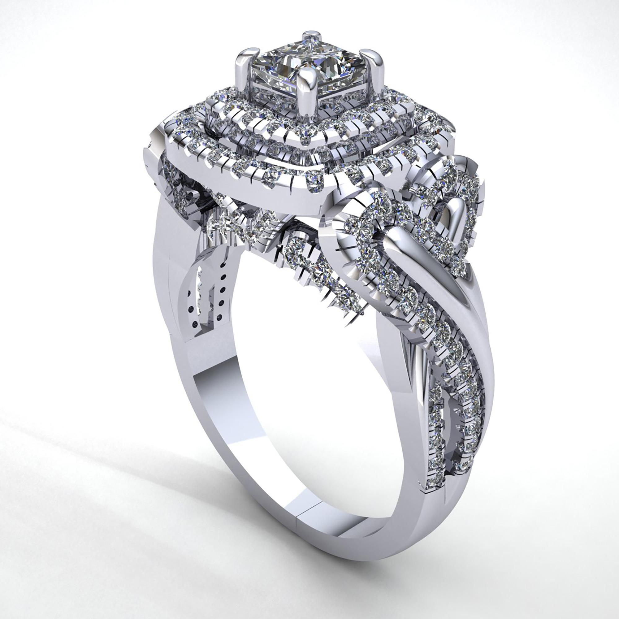 natural 2carat princess cut diamond ladies double halo. Black Bedroom Furniture Sets. Home Design Ideas