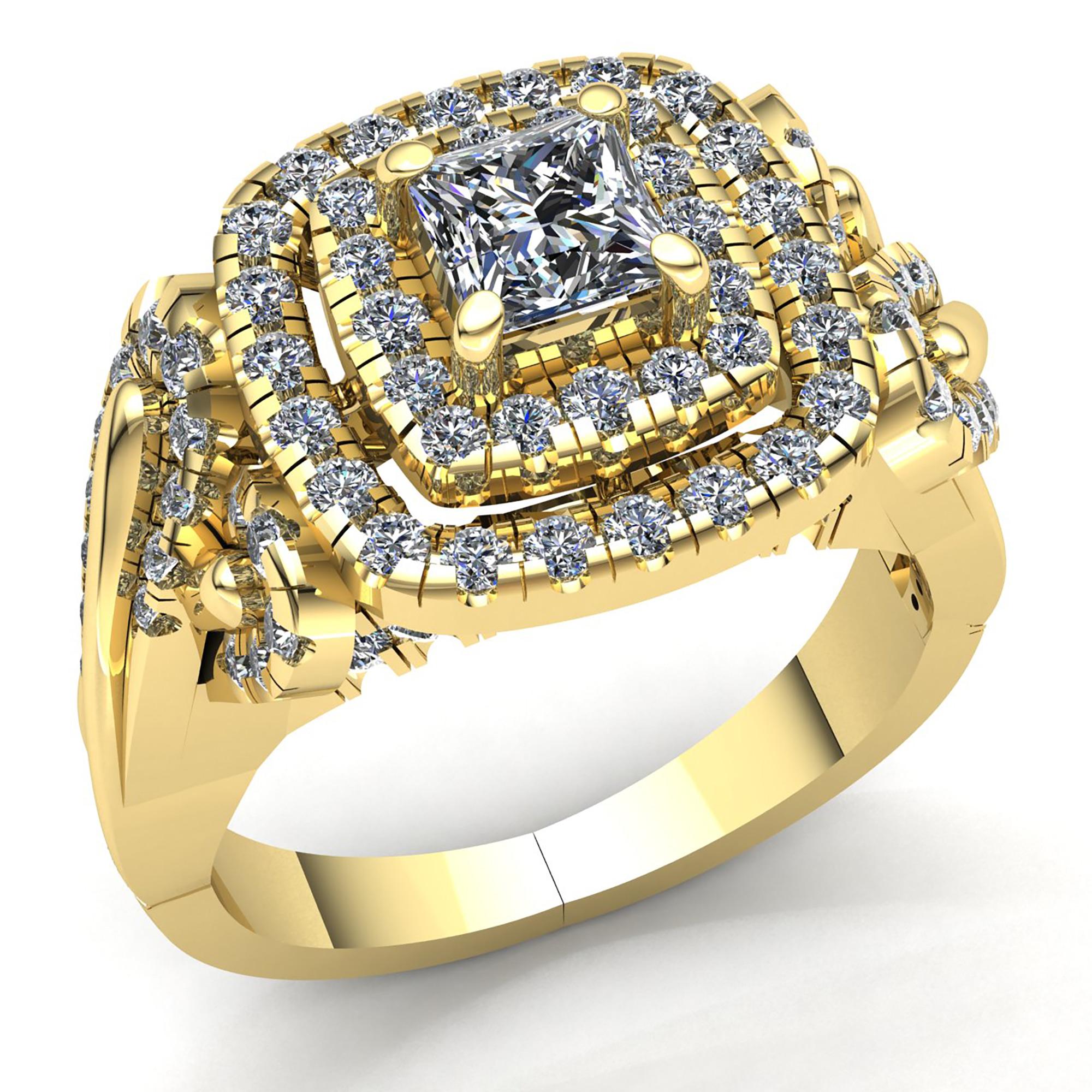 genuine 3ct princess cut diamond ladies double halo engagement ring 18k gold ebay. Black Bedroom Furniture Sets. Home Design Ideas