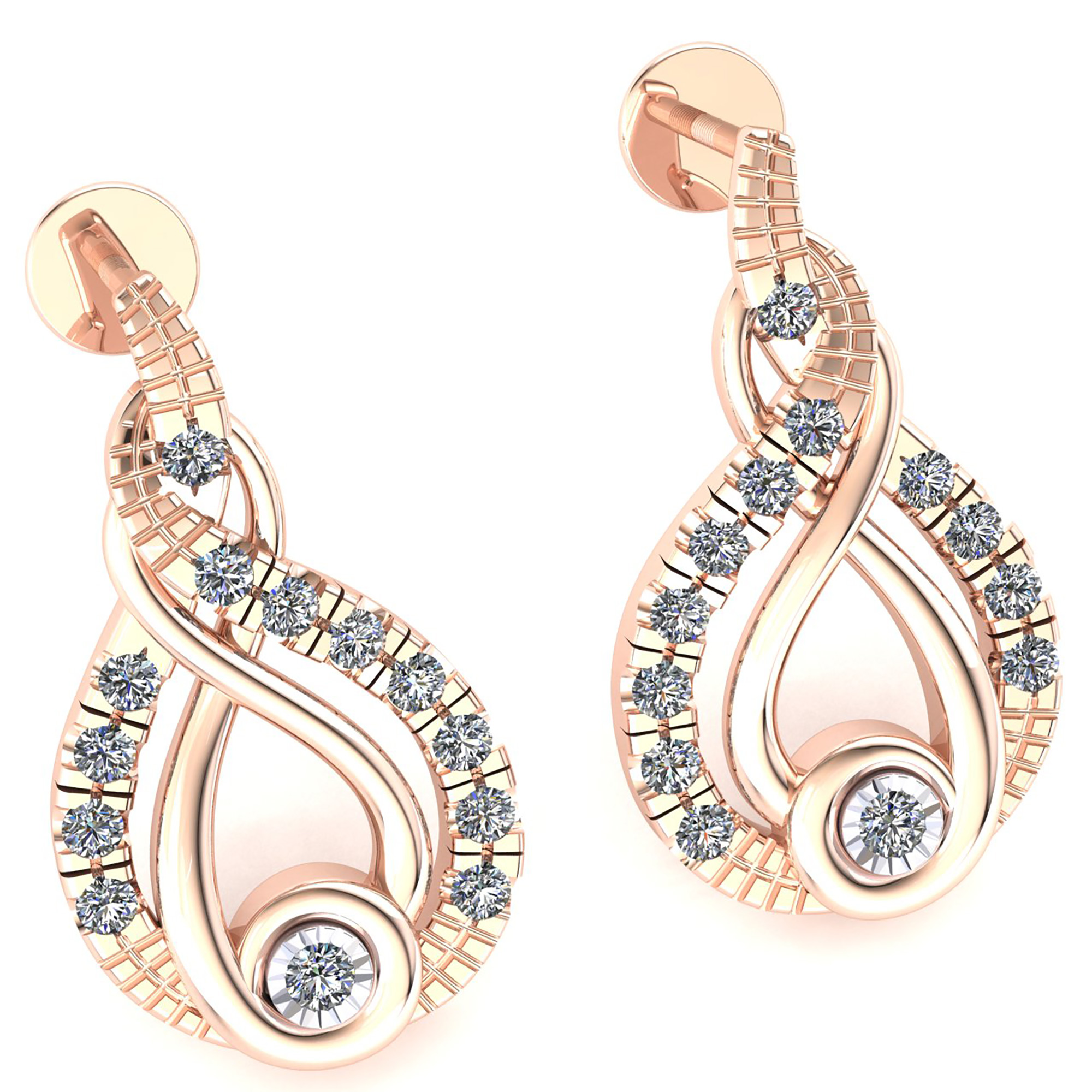 cut dia round earrings ladies diamond gold rg natural a twisted itm infinity
