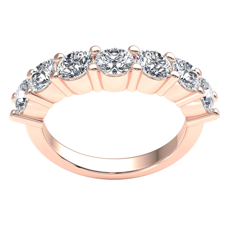 7Stone Contour Wedding Band Ring 2.10ct Round Brilliant Diamond 18k Gold F VS1