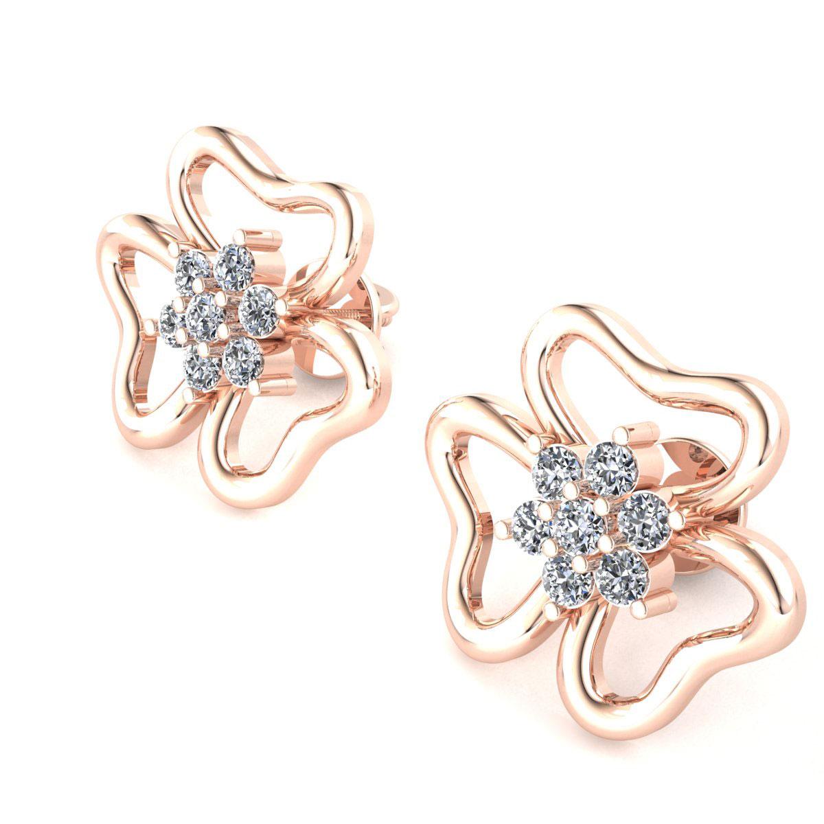 18K Gold Diamond Cluster Stud Earrings 292
