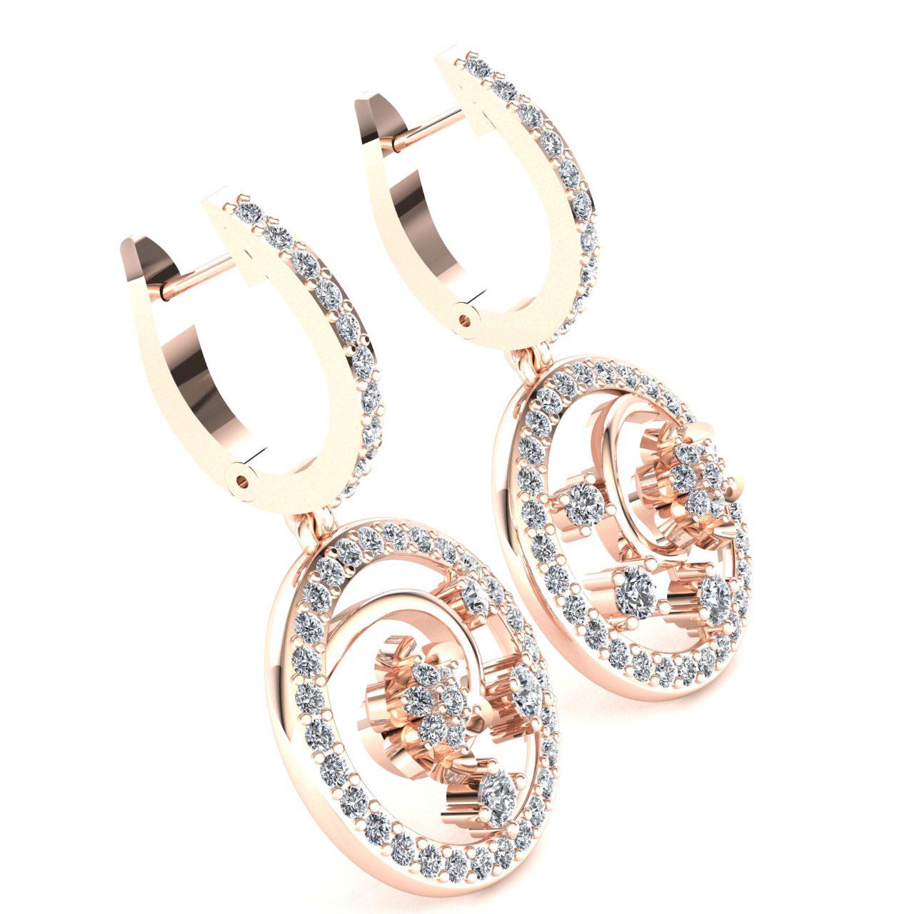 Genuine-1-15carat-Round-Cut-Diamond-Ladies-Flower-Circles-Earrings-14K-Gold thumbnail 8