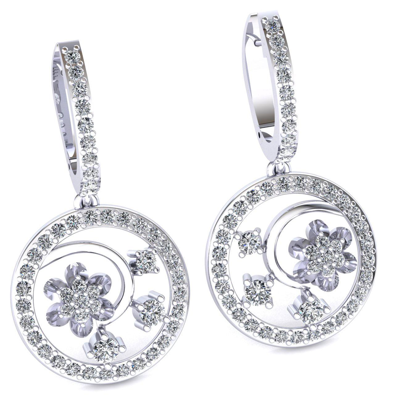 Genuine-1-15carat-Round-Cut-Diamond-Ladies-Flower-Circles-Earrings-14K-Gold thumbnail 9