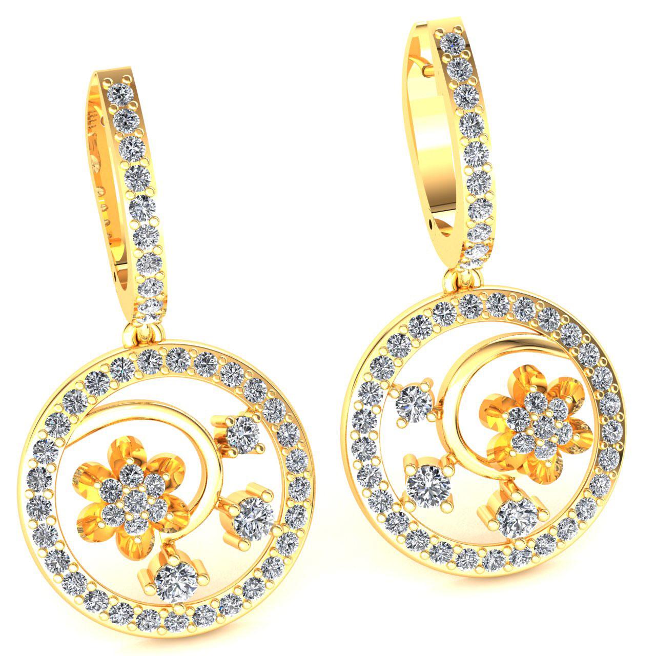 Genuine-1-15carat-Round-Cut-Diamond-Ladies-Flower-Circles-Earrings-14K-Gold thumbnail 12