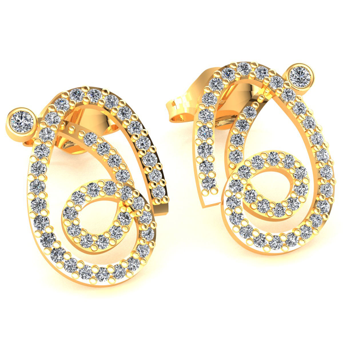 Symbol Of The Brand Pave 3.85 Carats Round Brilliant Cut Diamonds Necklace Earrings Set In 14k Gold Fine Jewellery