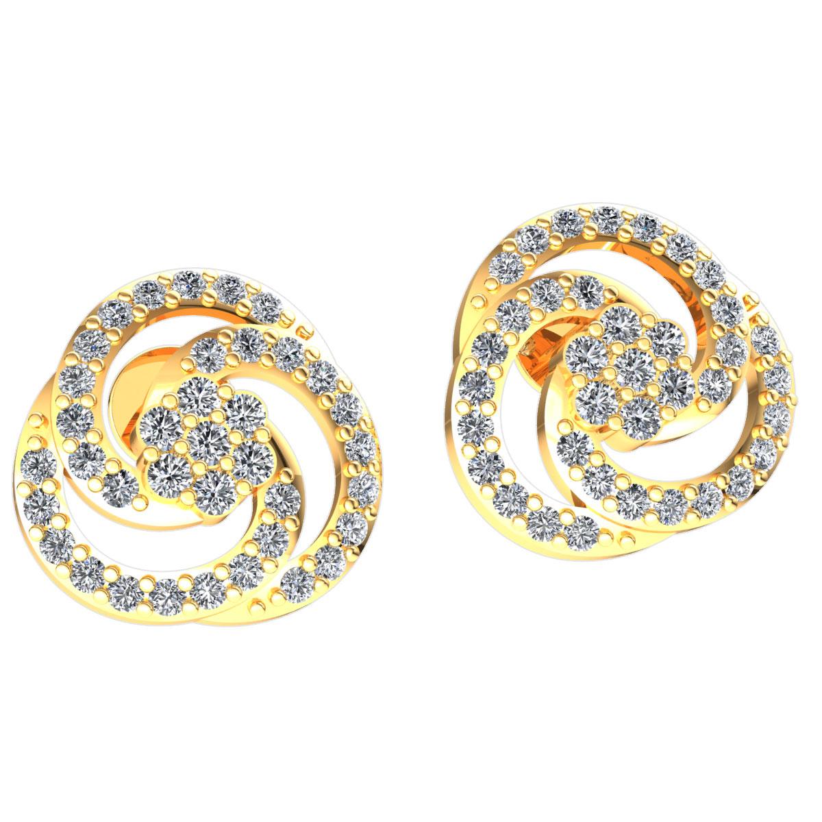 Genuine 0.4ct Round Cut Diamond Ladies Trinity Knot Earrings Solid 18K gold
