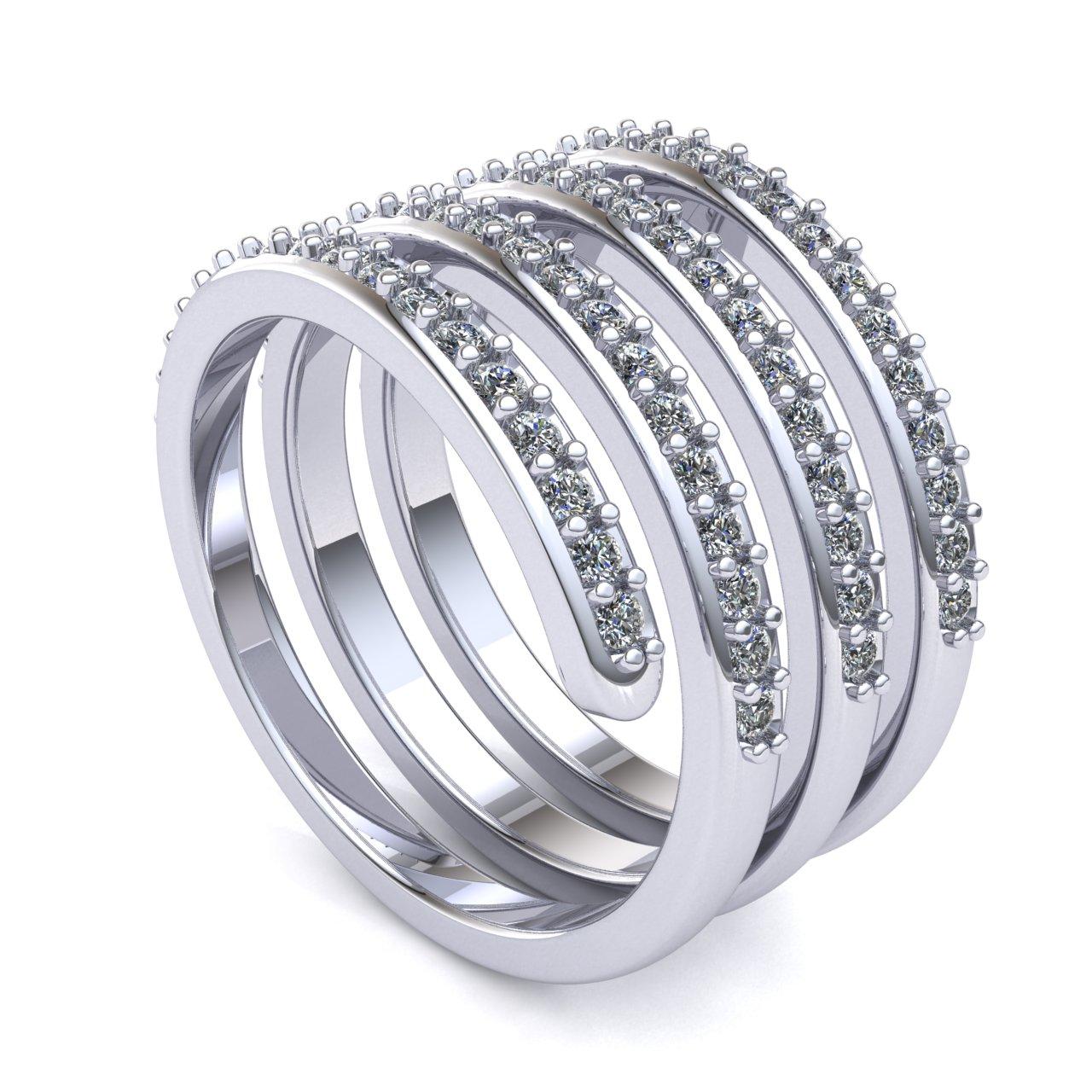 Genuine 0 75ct Round Cut Diamond Fancy Swirl Wedding Band Ring Solid