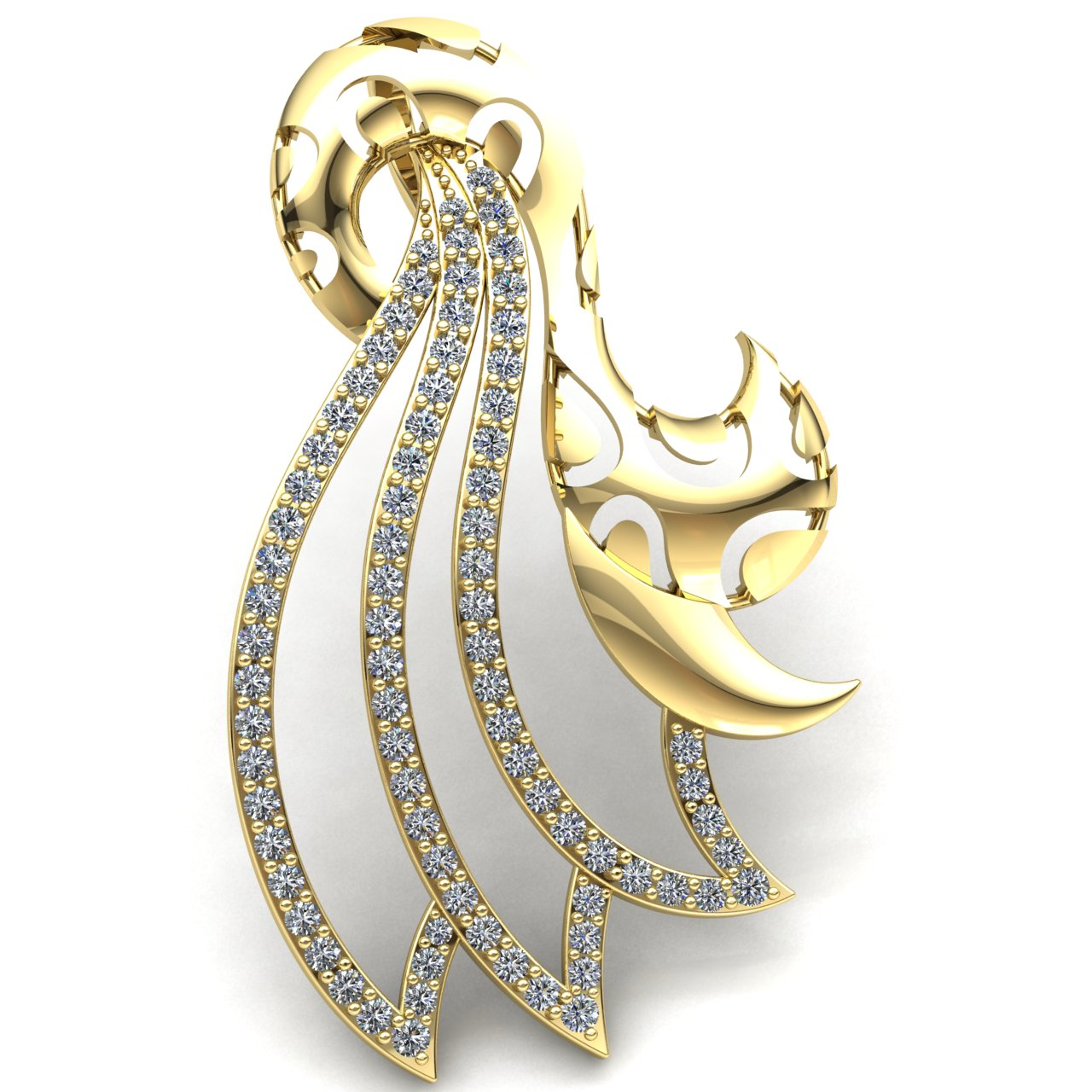 Genuine 0.75ct Round Cut Diamond Ladies Twisted Fashion Pendant 18K gold